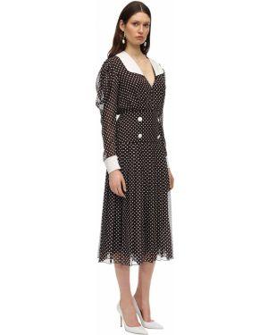 Brązowa sukienka midi w grochy z szyfonu Marianna Senchina
