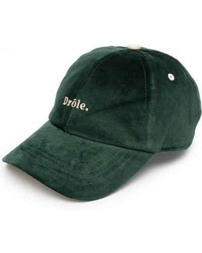 Zielona czapka z haftem bawełniana Drole De Monsieur