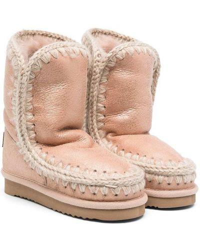 Розовые кожаные угги на платформе Mou Kids