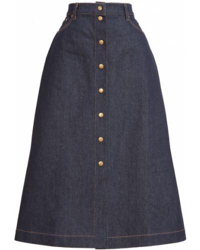 Хлопковая синяя юбка миди Laroom