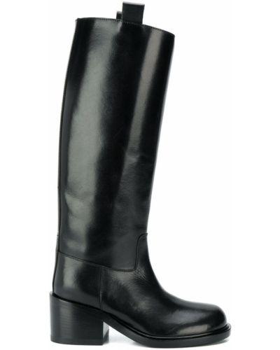 Черные сапоги без каблука до середины колена круглые A.f.vandevorst