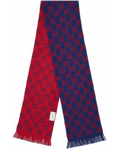 Niebieski wełniany szalik frędzlami Gucci