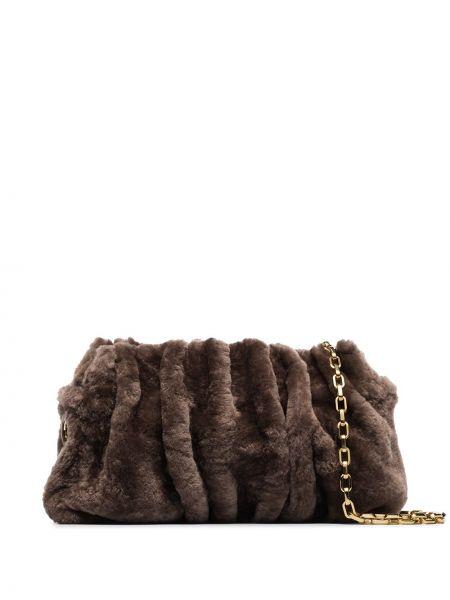 Z paskiem brązowy torebka na łańcuszku z prawdziwej skóry z falbankami Elleme