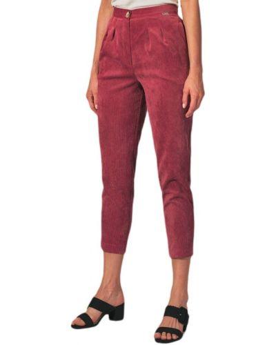 Różowe spodnie sztruksowe Figl