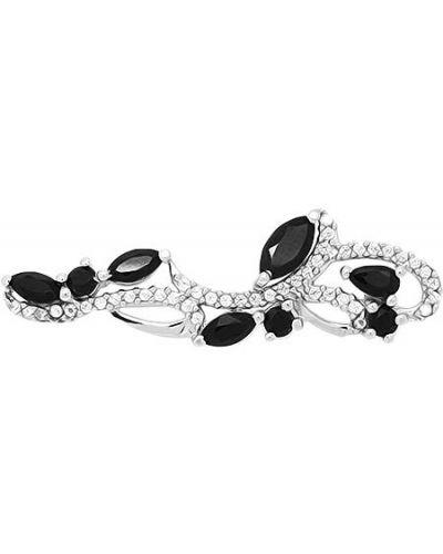 Серебряная брошь с камнями черная Evora