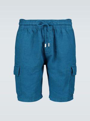 С кулиской льняные синие шорты карго на резинке Vilebrequin