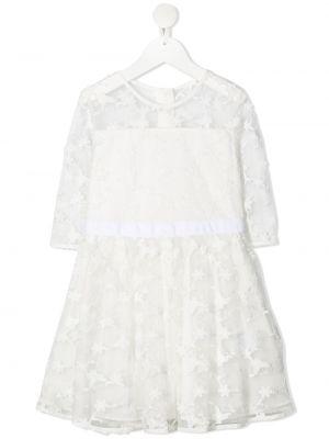 Biała sukienka mini z długimi rękawami bawełniana Charabia