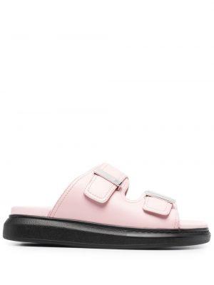 Różowe sandały skorzane peep toe Alexander Mcqueen