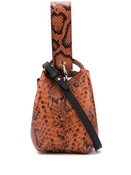С ремешком коричневая кожаная сумка из кожи питона Elena Ghisellini