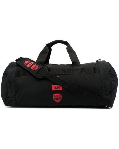 Czarna torba sportowa materiałowa z haftem Adidas By 424