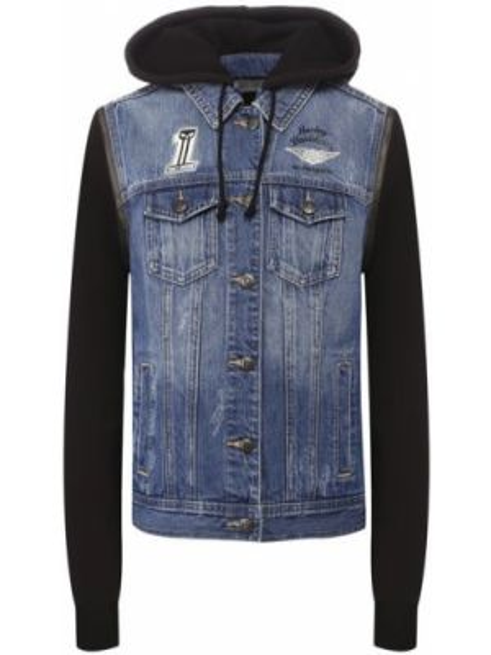 Хлопковая синяя джинсовая куртка Harley Davidson