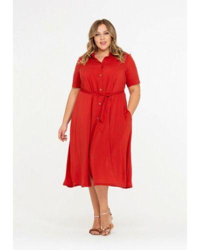 Повседневное платье весеннее красный Intikoma