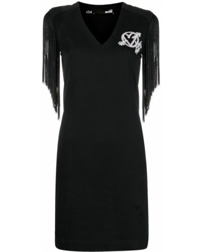 Черное платье мини с бахромой с вырезом Love Moschino