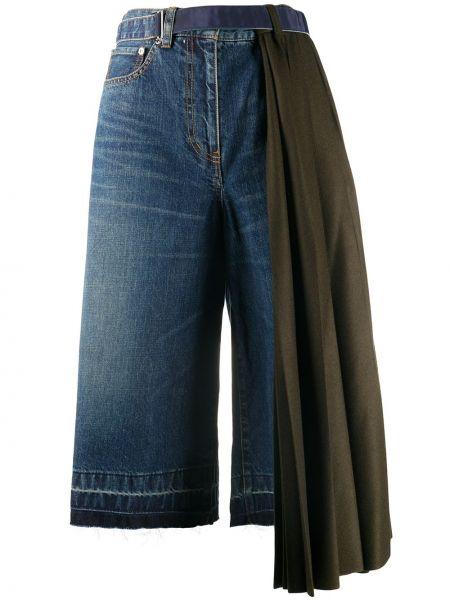 Зеленые с завышенной талией джинсовые шорты с карманами Sacai