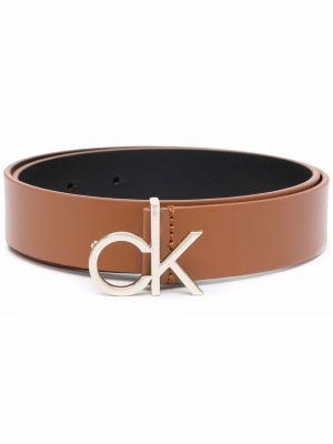 Кожаный ремень - коричневый Calvin Klein