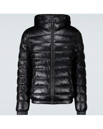 Кожаная куртка с капюшоном - черная Dolce & Gabbana
