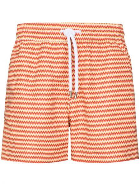 Pomarańczowe spodenki do pływania bawełniane z printem Frescobol Carioca