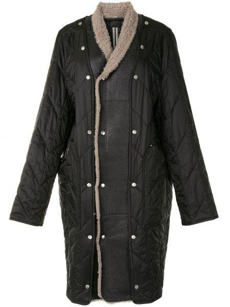 Prosto czarny pikowana płaszcz z kieszeniami z długimi rękawami Rick Owens