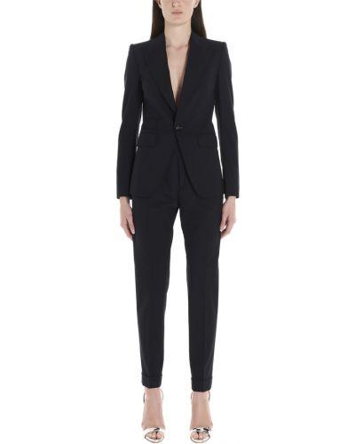 Czarny garnitur slim elegancki z długimi rękawami Dsquared2