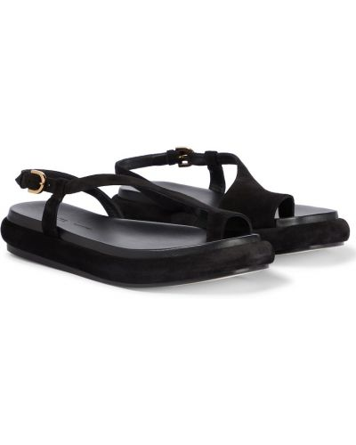 Черные кожаные сандалии Khaite