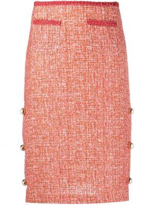 Красная прямая юбка миди твидовая Pinko