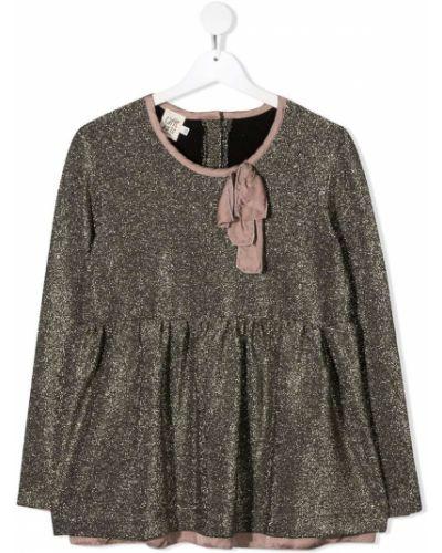 Золотистая розовая блузка с глиттером Caffe' D'orzo
