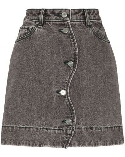 Spódnica jeansowa z paskiem - czarna Ganni