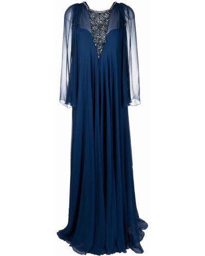 Niebieska sukienka długa z długimi rękawami z jedwabiu Jenny Packham