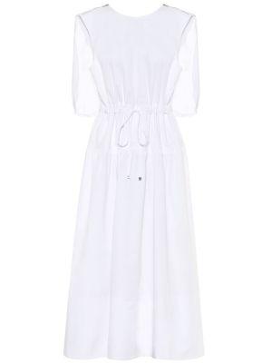 Белое тонкое платье миди из поплина Tibi