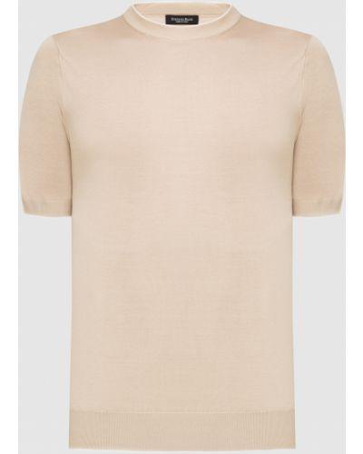 Шелковая бежевая футболка Stefano Ricci