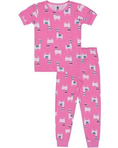 Różowa piżama dwuczęściowa bawełniana krótki rękaw Petit Lem