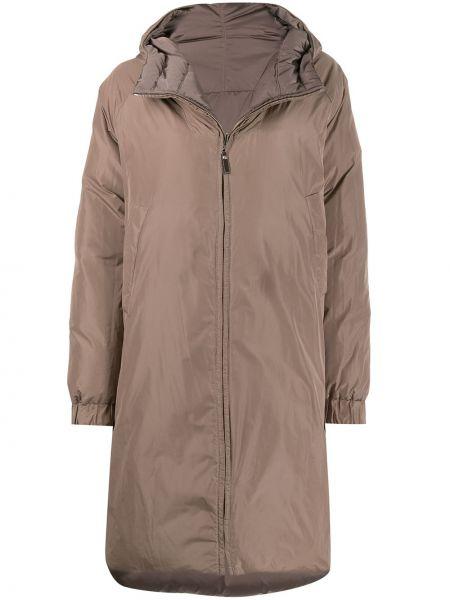 Стеганое пальто на молнии двустороннее айвори с перьями Max Mara