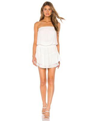Белое платье мини с декольте с подкладкой Krisa