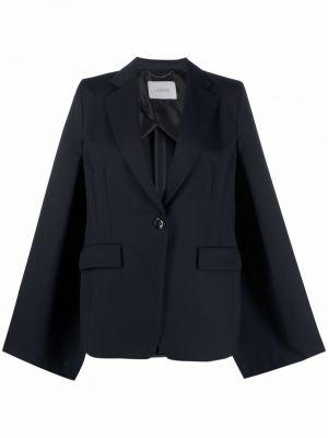Шерстяной синий удлиненный пиджак в полоску Dorothee Schumacher