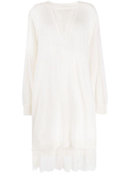 Кружевное с рукавами белое платье макси Twin-set