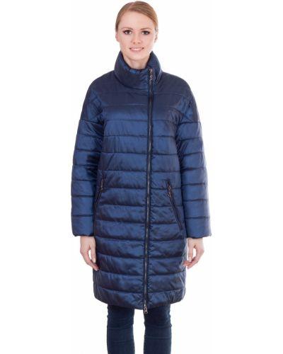 Пальто с капюшоном демисезонное с воротником-стойкой в полоску J-splash