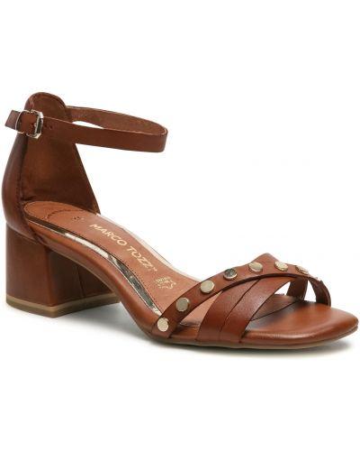 Sandały skórzane - brązowe Marco Tozzi