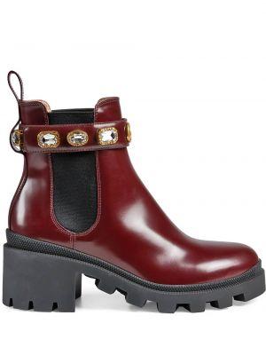 Buty na pięcie okrągły z prawdziwej skóry na pięcie okrągły nos Gucci