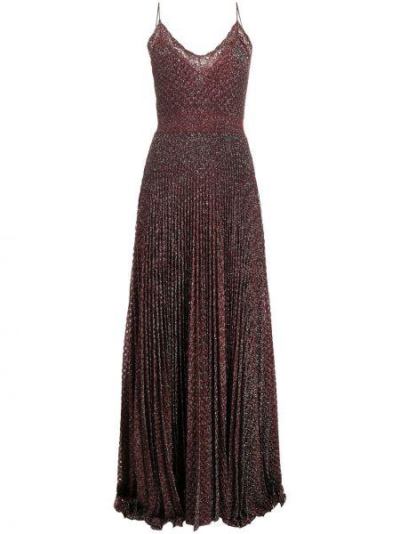 Шелковое красное платье макси с вышивкой Missoni