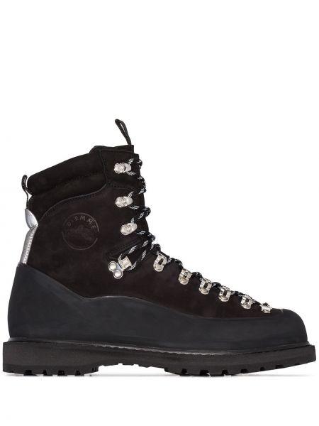 Спортивные черные кожаные ботинки на шнуровке Diemme