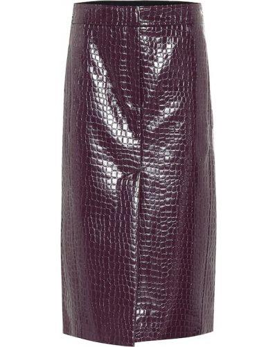 Юбка карандаш фиолетовый кожаная Tibi