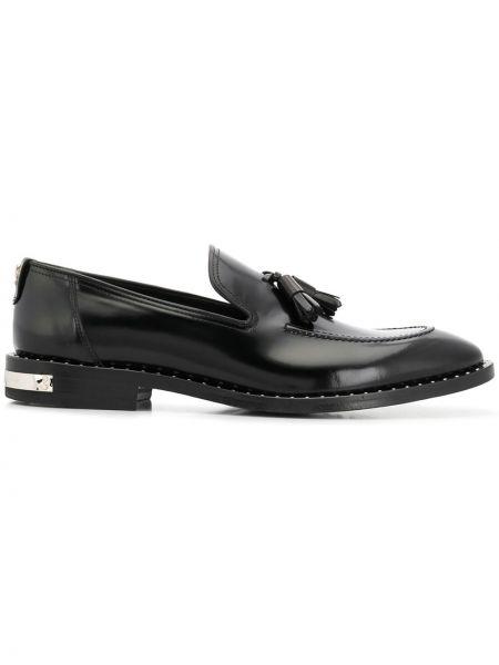 Czarne loafers skorzane kaskadowe Philipp Plein
