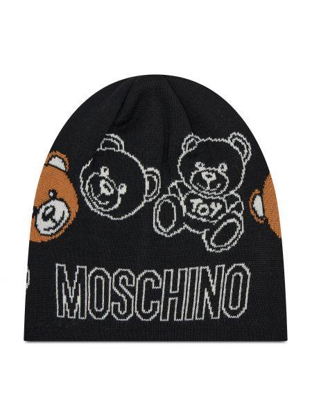 Czarna czapka z akrylu Moschino