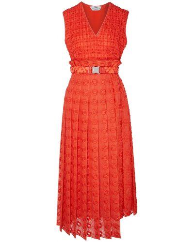 Платье миди с вышивкой с цветочным принтом Fendi