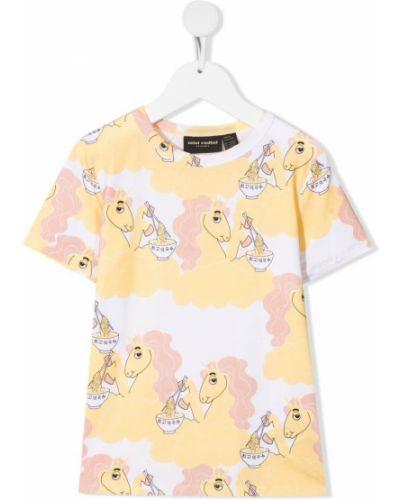Żółty t-shirt krótki rękaw z printem Mini Rodini