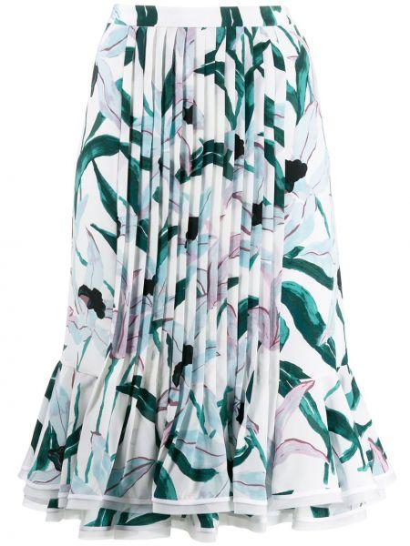 Плиссированная юбка с цветочным принтом с поясом Tory Burch