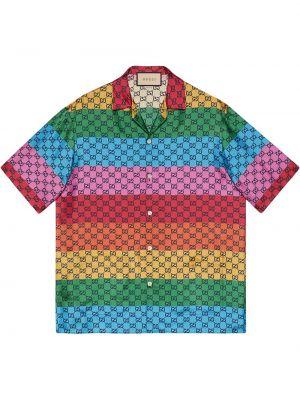 Koszula krótki rękaw z jedwabiu Gucci