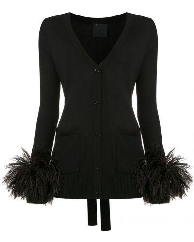 Блузка с длинным рукавом с перьями черная Andrea Bogosian