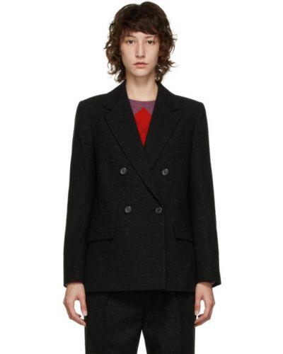 Черный пиджак твидовый с воротником с карманами A.p.c.