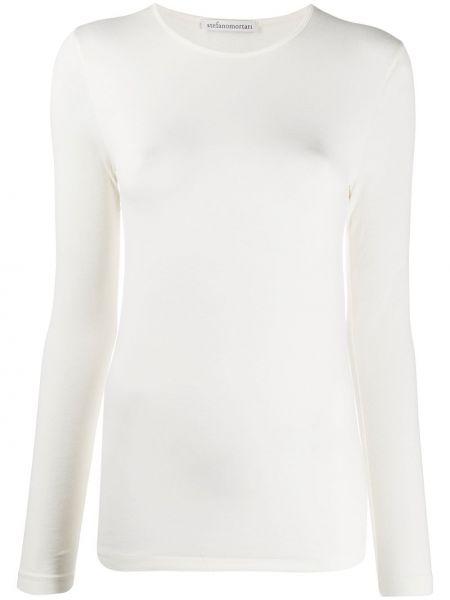 Белая прямая приталенная футболка с круглым вырезом Stefano Mortari